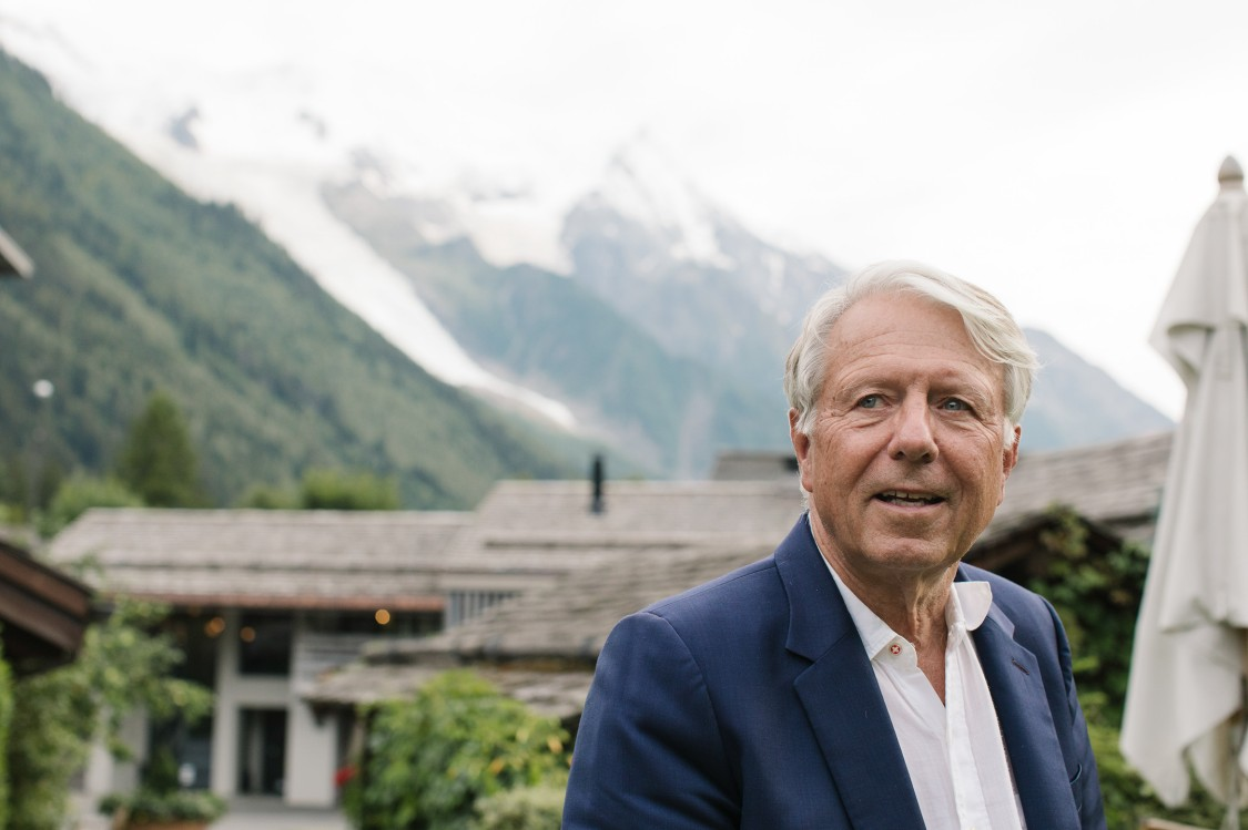 CIGRE President Michel Augonnet with the mountains around Chamonix, home to his wife's family.