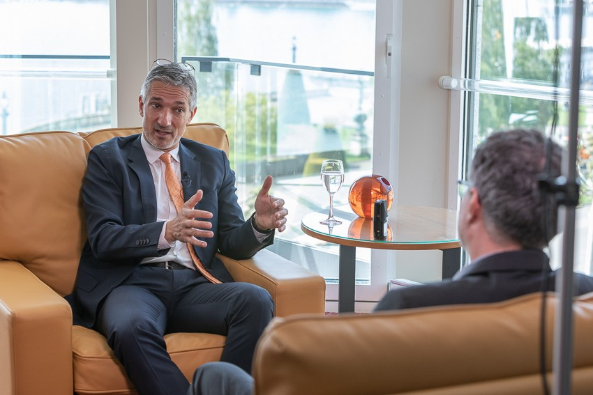 Secretary General of the WEC Christoph Frei in interview with journalist Marc Engelhardt, Geneva, Switzerland
