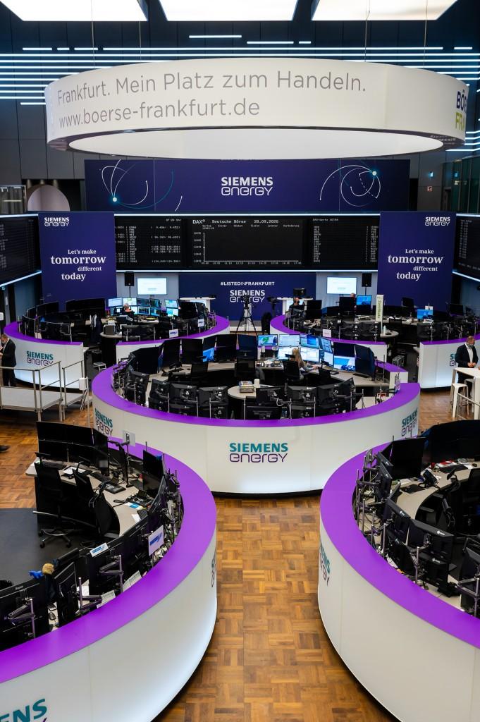 Purple Branded Trading Floor at Frankfurt Stock Exchange prior to Opening