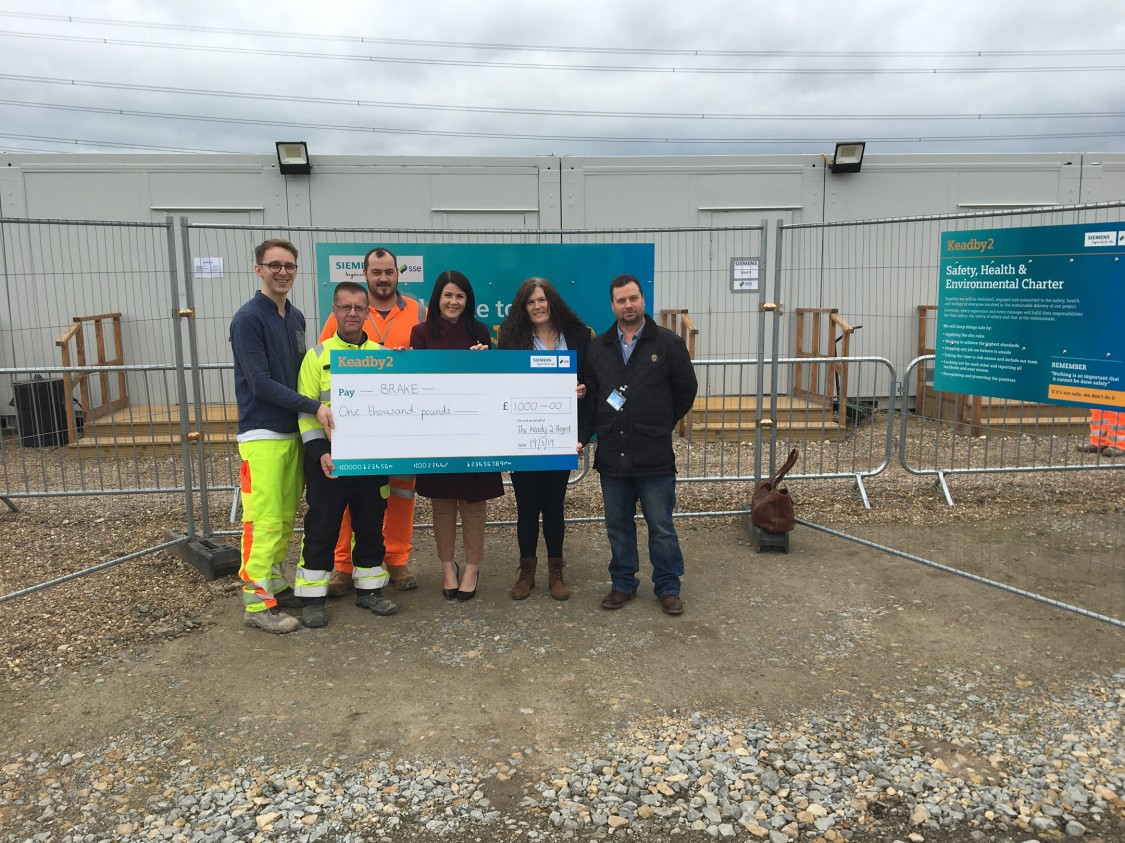 Keadby 2 supports road safety charity BRAKE with £1000 donation