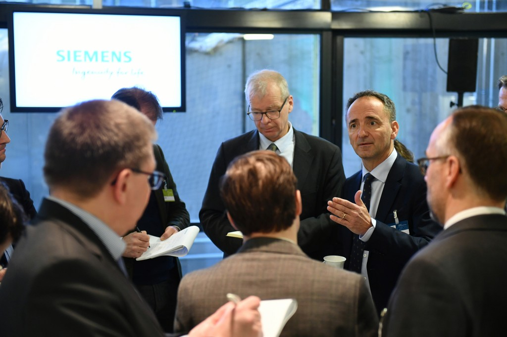 Jim Hagemann Snabe, Chairman of the Supervisory Board of Siemens AG, talks with journalists at the media center in the Olympiahalle before the 54th Annual Shareholders' Meeting of Siemens AG begins on February 5, 2020.