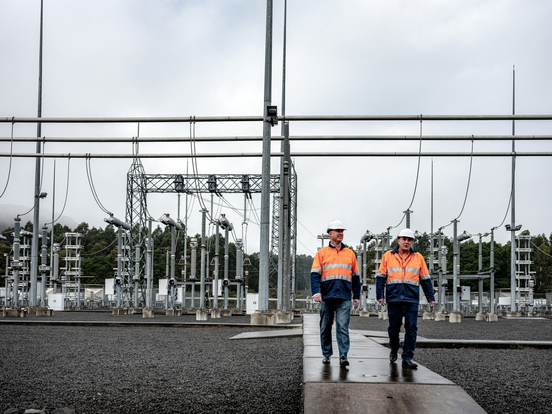 Basslink engineer Greg Mather and Chief Operating Officer Joska Ferencz at the George Town Converter Station in Tasmania, Australia