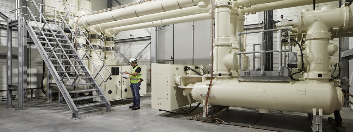 The gas-insulated switchgear inside the converter station in Belgium