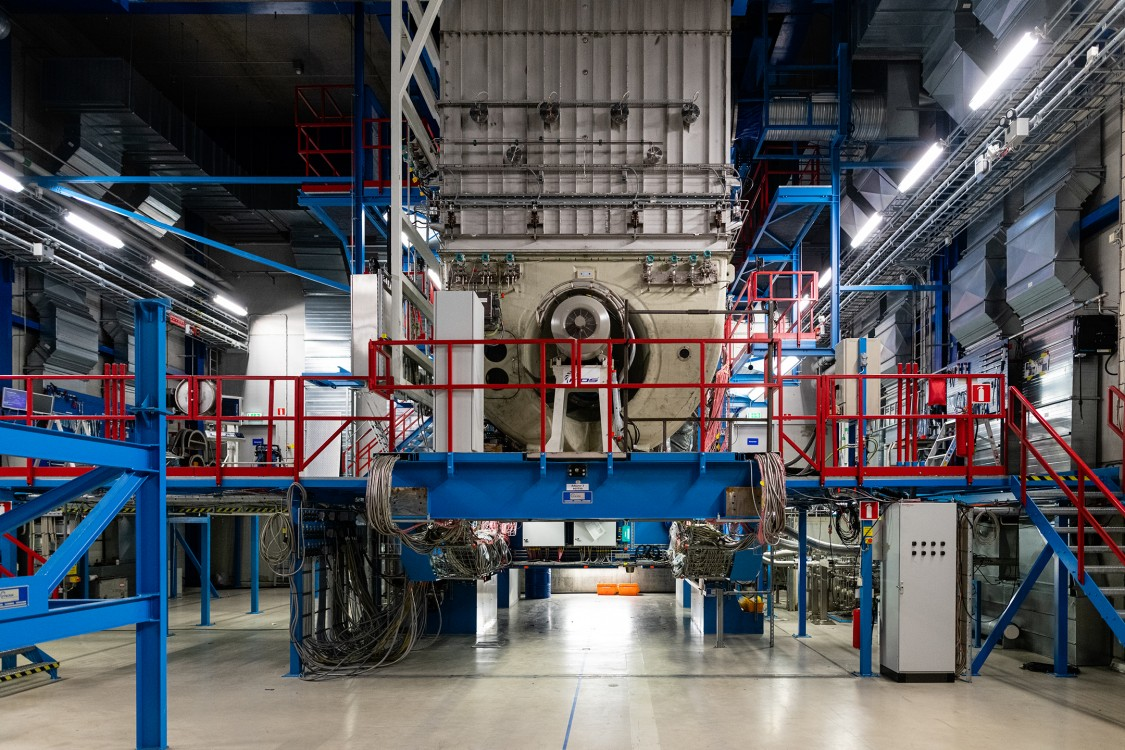 Inside the assembly hall at the Siemens Energy gas turbine plant in Finspång, Sweden