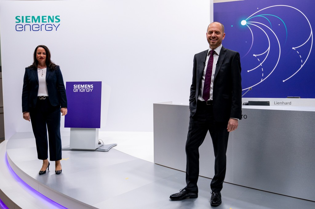 Maria Ferraro, Chief Financial Officer of Siemens Energy AG and Christian Bruch, Chief Executive Officer of Siemens Energy AG, prior to the first Annual Shareholders' Meeting.