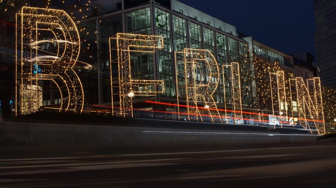 Berlin sign at night