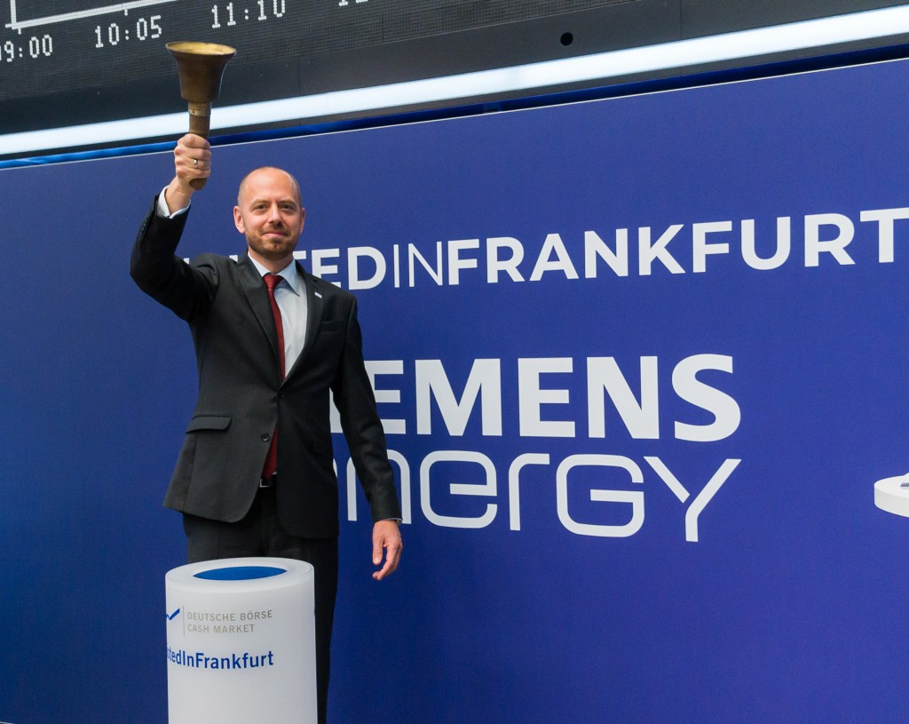 Christian Bruch, Chief Executive Officer of Siemens Energy AG ringing the opening bell at Frankfurt Stock Exchange.