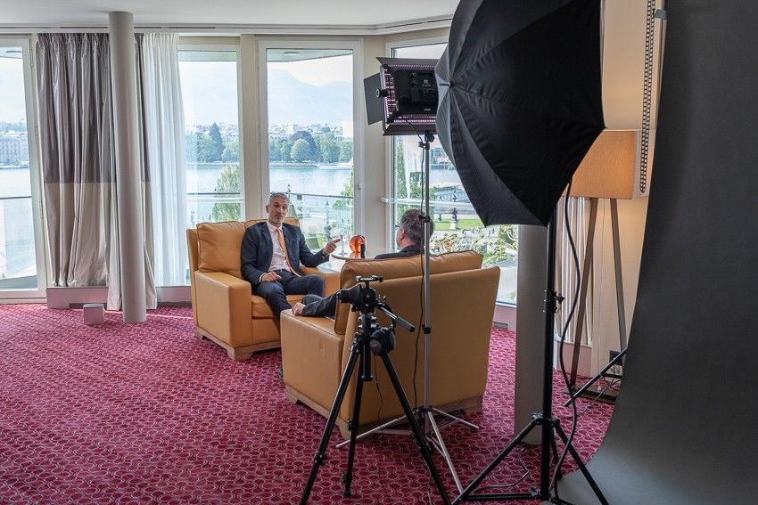 Secretary General of the WEC Christoph Frei in interview with journalist Marc Engelhardt, Geneva, Switzerland