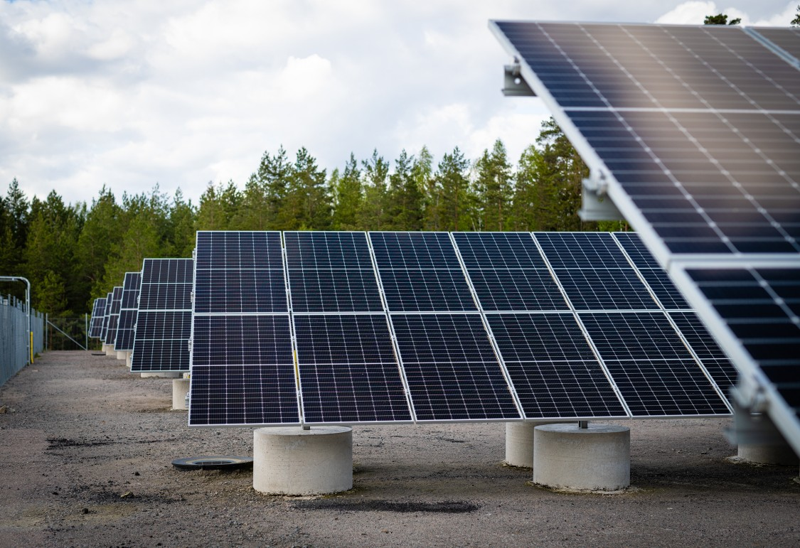 Solar panels outside the Siemens Energy gas turbine assembly hall at Finspång, Sweden