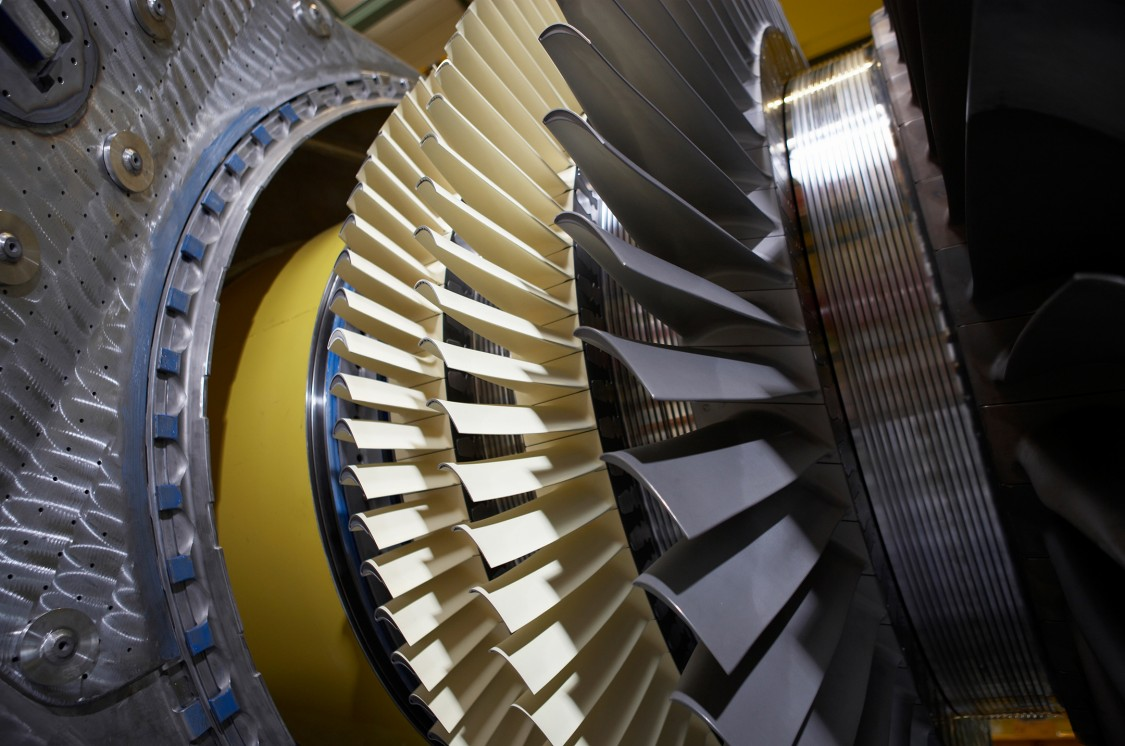 Blades in a gas turbine.