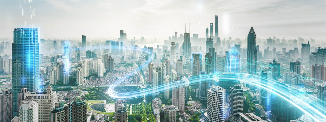 cidade do futuro com linhas azuis representando a distribuição de energia