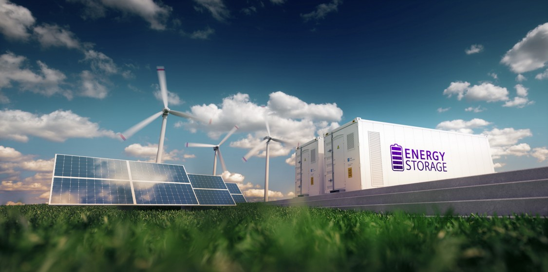 A computer generated image featuring solar panels and wind panels