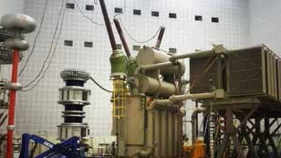 Photo of a power transformer for the wind farm East Anglia ONE
