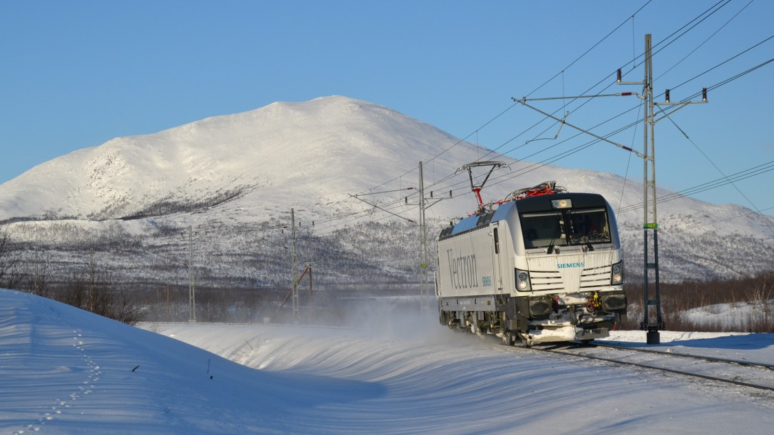 Photo of an electro-locomotive on a cold winter day