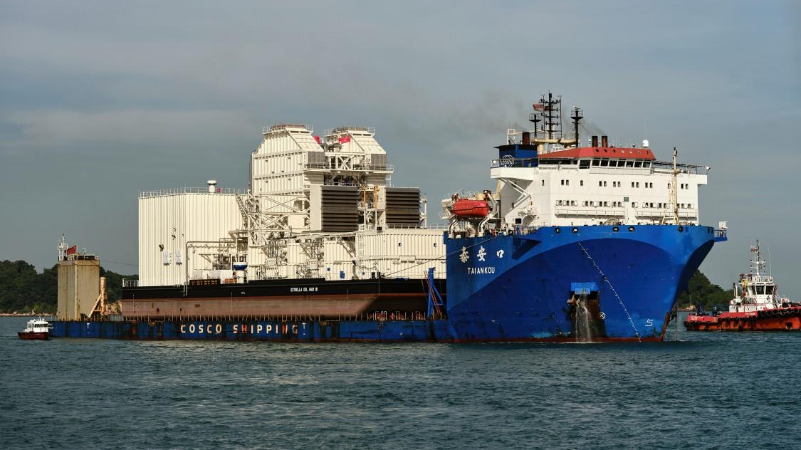 Estrella del Mar III leaving the Singapore port