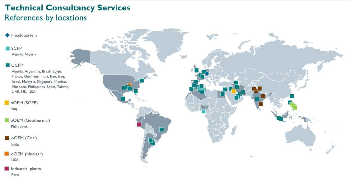 technical consultancy services world map with references