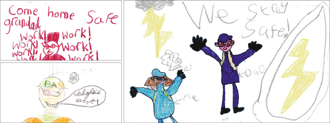 """Drawings done by the employees' children for the """"Come Home Safe"""" campaign"""